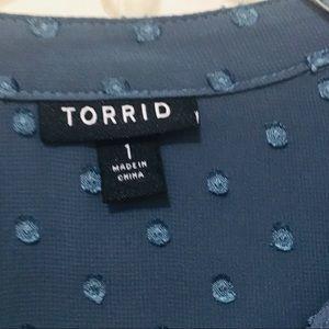 torrid Tops - Torrid Size 1 Sheer Textured Blouse High Low Top